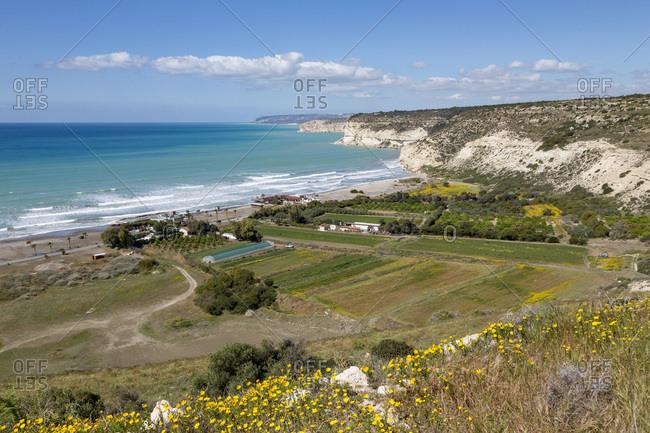 Kourion Beach and cliffs at Episkopi Bay in southern Cyprus, Mediterranean, Europe
