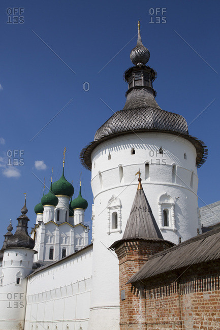 Towers and Kremlin Wall, Rostov Veliky, Golden Ring, Yaroslavl Oblast, Russia, Europe
