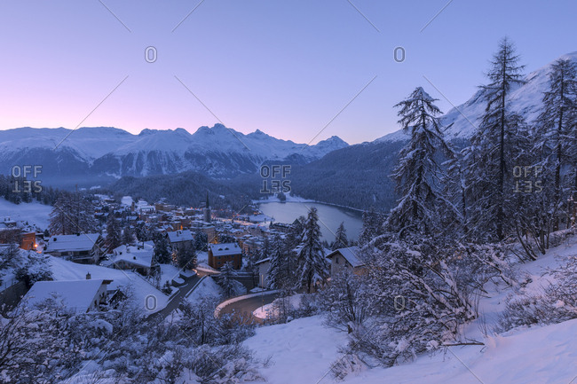 Village and Lake of St. Moritz after a snowfall, Engadine, Canton of Graubunden, Switzerland, Europe
