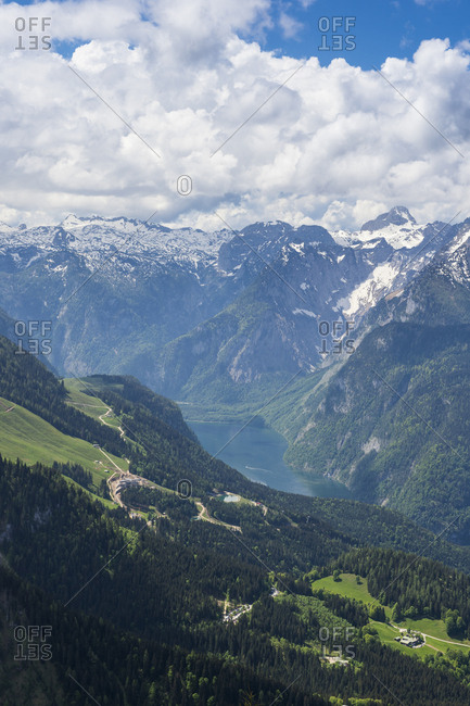 View over the Bavarian Alps and Koenigssee from Kehlsteinhaus (Eagle Nest), Berchtesgaden, Bavaria, Germany, Europe