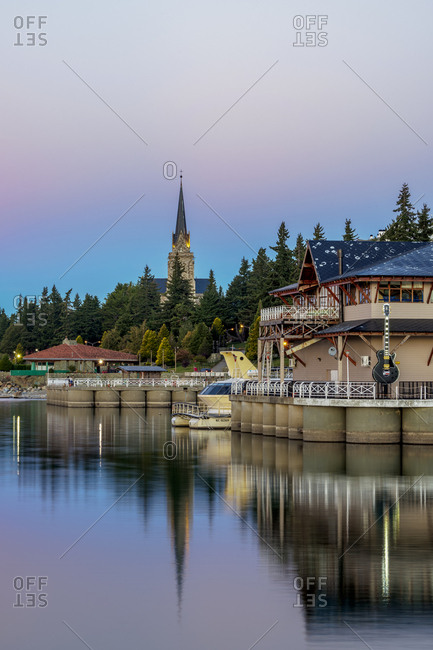 April 15, 2018: San Carlos Port and Cathedral at dusk, San Carlos de Bariloche, Nahuel Huapi National Park, Rio Negro Province, Argentina, South America