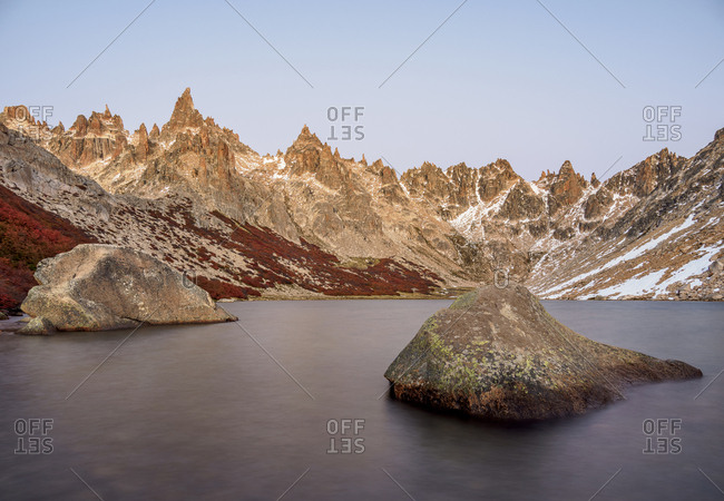 Toncek Lagoon and Cerro Catedral at dawn, Nahuel Huapi National Park, Rio Negro Province, Argentina, South America
