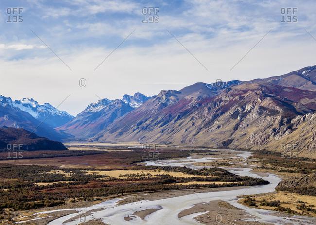 Las Vueltas River, elevated view, Los Glaciares National Park, UNESCO World Heritage Site, Santa Cruz Province, Patagonia, Argentina, South America