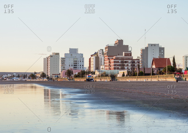 April 9, 2018: Beach in Puerto Madryn, The Welsh Settlement, Chubut Province, Patagonia, Argentina, South America