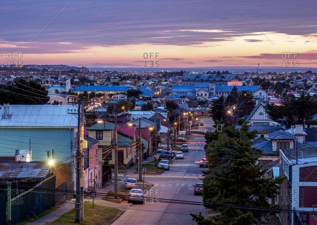 March 26, 2018: Punta Arenas at dawn, Magallanes Province, Patagonia, Chile, South America
