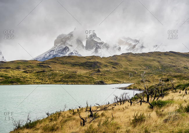 View over Lake Pehoe towards Cuernos del Paine, Torres del Paine National Park, Patagonia, Chile, South America