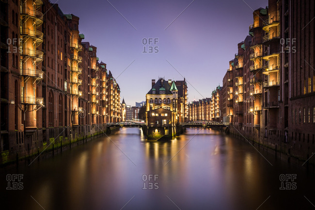 A long exposure blue hour shot of the Speicherstadt warehouse district in Hamburg, Germany, Europe
