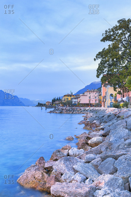April 2, 2018: Soft lights at dusk at the village of Macugnano, Brenzone sul Garda, Lake Garda, Verona Province, Veneto, Italian Lakes, Italy, Europe