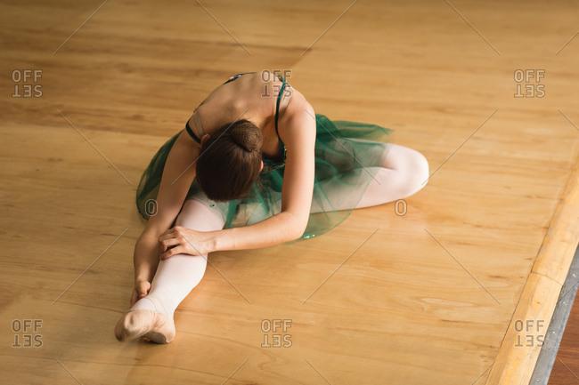 Ballerina practicing ballet dance at dance studio