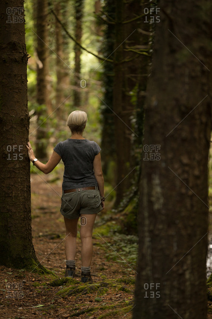 Rear view of woman standing in the forest