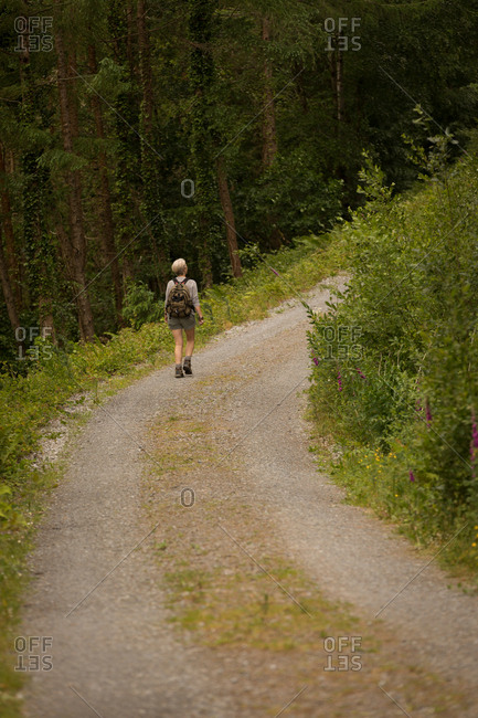 Rear view of woman with backpack walking in the forest