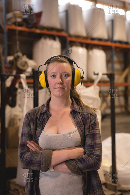 Portrait of female worker in warehouse