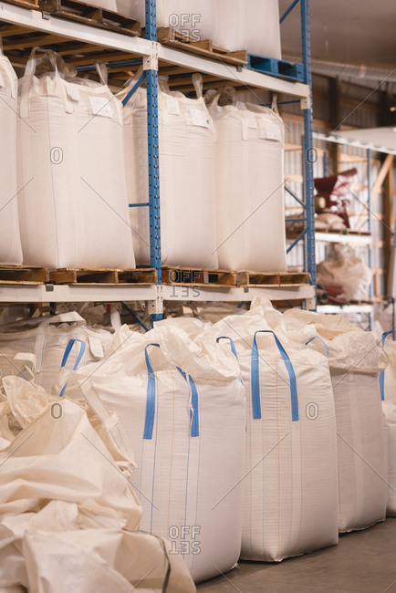 Grains in bulk bags at warehouse