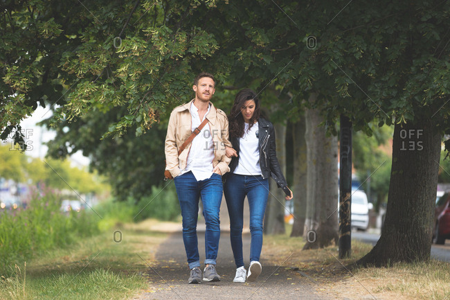 Romantic couple walking on street in the city