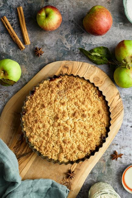 Autumn apple crumble pie