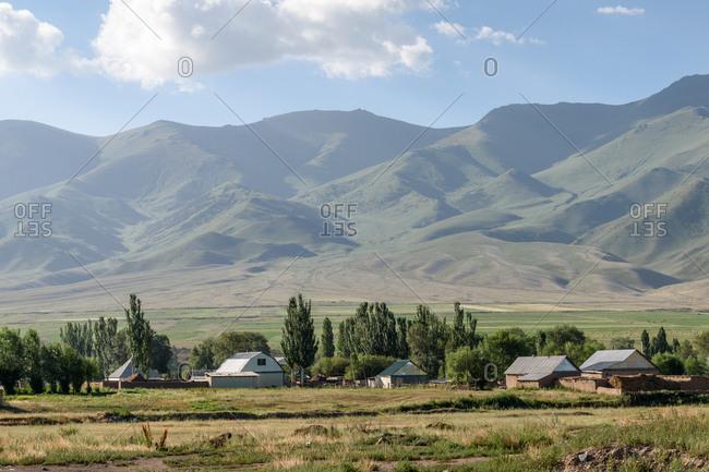 Mountainside farm in rural Kyrgyzstan