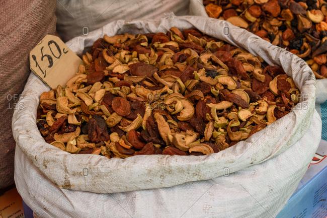 Dried fruit for sale in a market in Bishkek, Kyrgyzstan