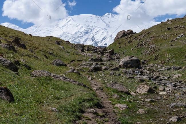 Rocky hillside at Lenin Peak, Sary Mogol
