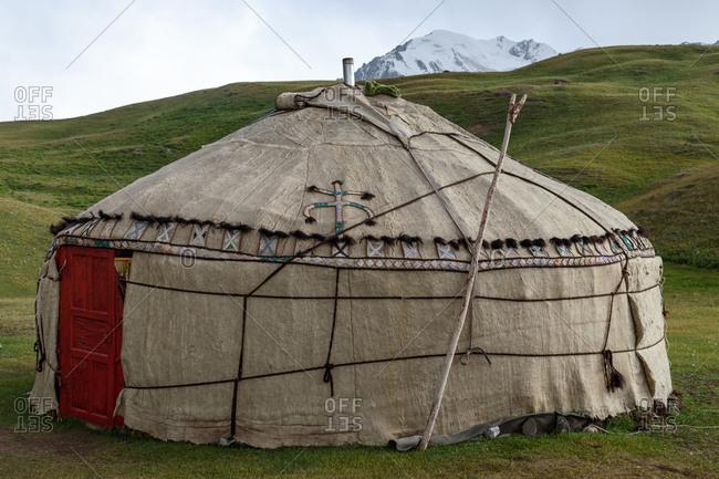 Traditional yurt near Lenin Peak