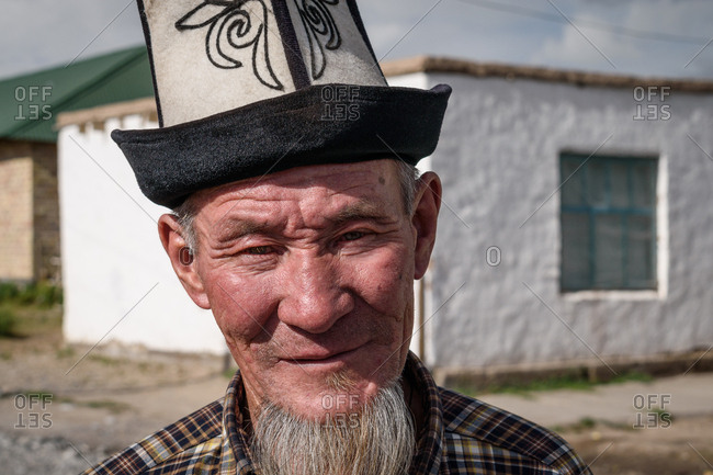 Sary Mogul, Kyrgyzstan - August 1, 2018: Local man in the village of Sary Mogol