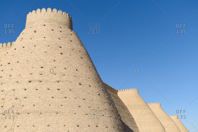 Walls of Ark fortress in Bukhara, Uzbekistan