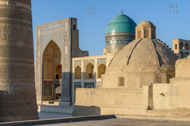 Bukhara, Uzbekistan - August 10, 2018: Exterior of buildings in Bukhara
