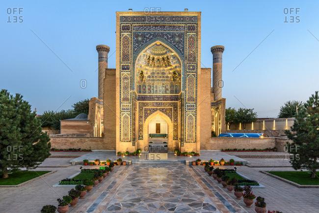 Samarkand, Uzbekistan - August 13, 2018: Amir Temur Mausoleum at dusk