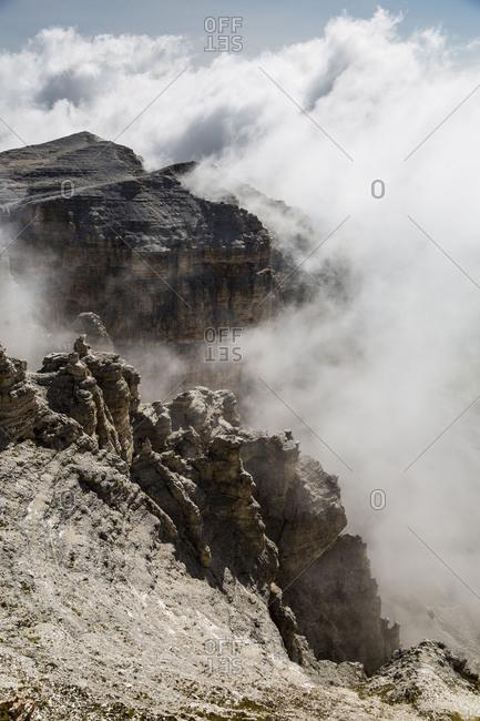 Europe, Italy, Alps, Dolomites, Mountains, Trentino-Alto Adige/Sudtirol, View from Sass Pordoi