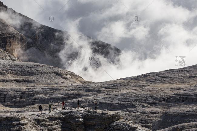 September 15, 2017: Europe, Italy, Alps, Dolomites, Mountains, Trentino-Alto Adige/Sudtirol, View from Sass Pordoi