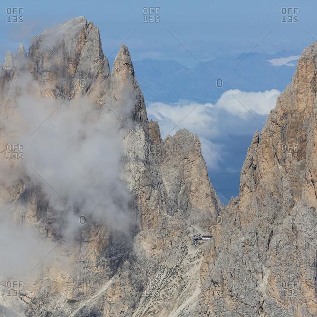 Europe, Italy, Alps, Dolomites, Mountains, Trentino-Alto Adige/Sudtirol, Sassolungo, View from Sass Pordoi