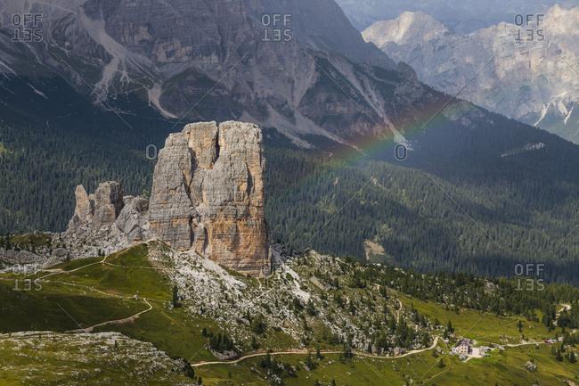 Europe, Italy, Alps, Dolomites, Mountains, Cinque Torri, View from Rifugio Averau
