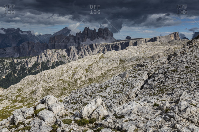 Europe, Italy, Alps, Dolomites, Mountains, Croda da Lago, Formin, Monte Pelmo, View from Rifugio Nuvolau
