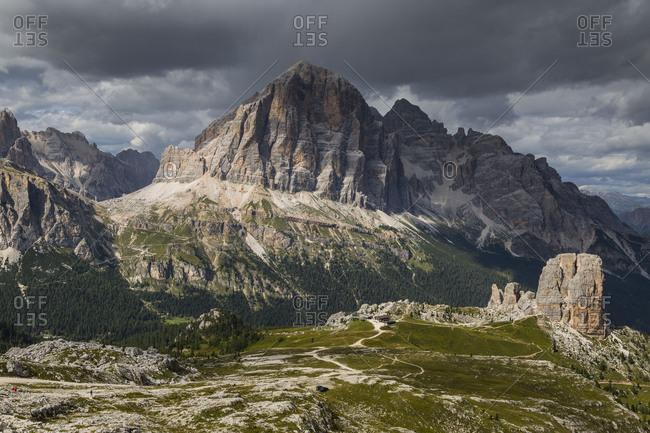 Europe, Italy, Alps, Dolomites, Mountains, Cinque Torri, Tofane, View from Rifugio Averau