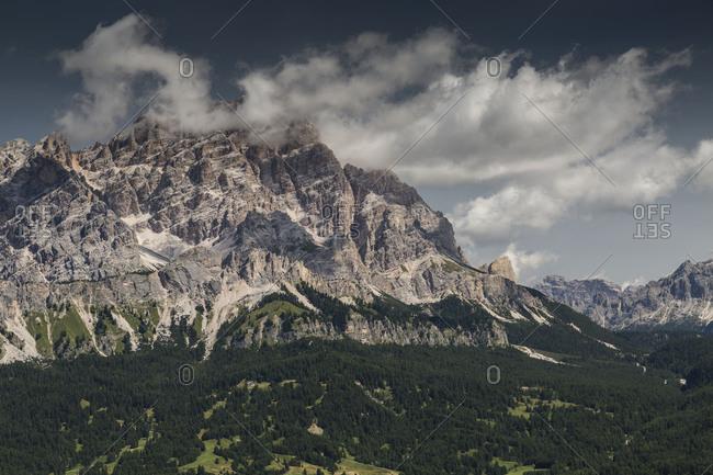 Europe, Italy, Alps, Dolomites, Mountains, Veneto, Belluno, Cortina d'Ampezzo, Cristallo view from Pocol