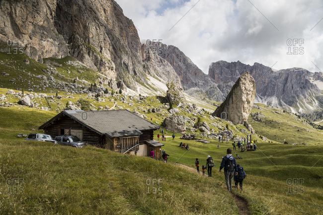 September 15, 2017: Europe, Italy, Alps, Dolomites, Mountains, South Tyrol, Val Gardena, Malga Pieralongia Alm