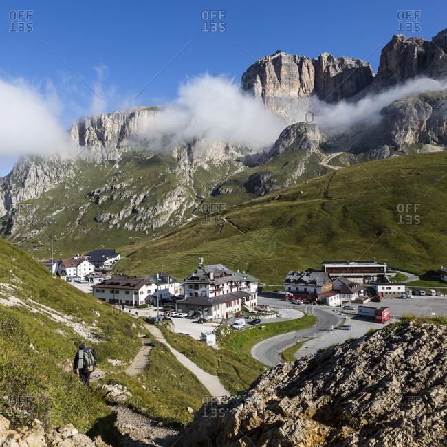 September 15, 2017: Europe, Italy, Alps, Dolomites, Mountains, Pordoi Pass