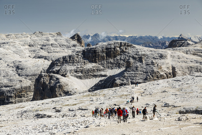 September 15, 2017: Europe, Italy, Alps, Dolomites, Mountains, Trentino-Alto Adige/Sudtirol, Sass Pordoi