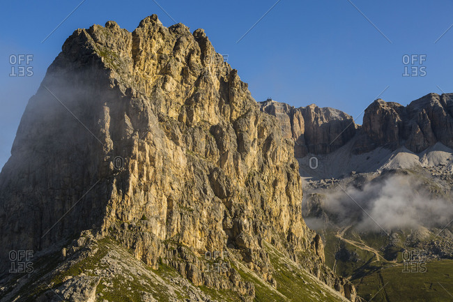 Europe, Italy, Alps, Dolomites, Mountains, Sella, View from Rifugio Sass Bece