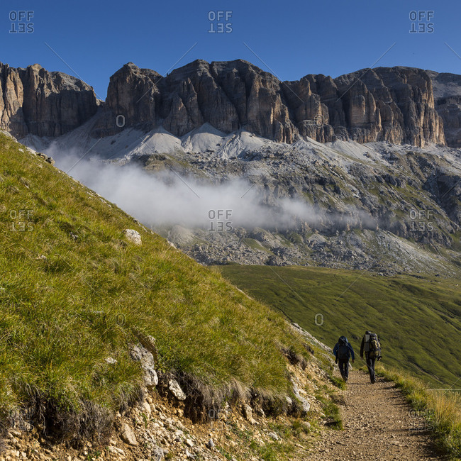 September 15, 2017: Europe, Italy, Alps, Dolomites, Mountains, Sella, View from Rifugio Sass Bece