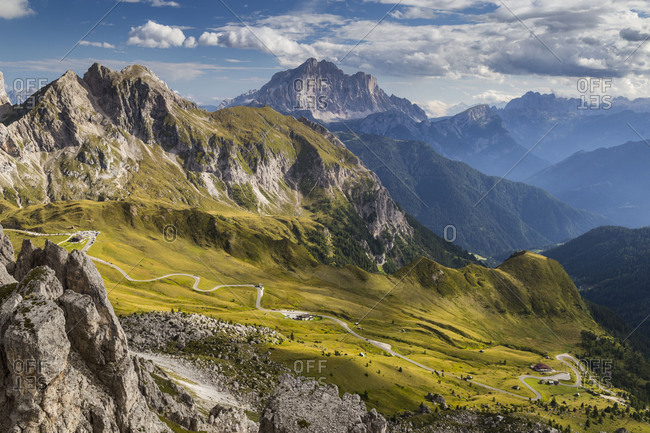 Europe, Italy, Alps, Dolomites, Mountains, Passo Giau, View from Rifugio Nuvolau