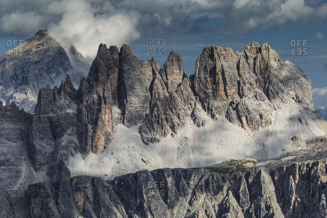 Europe, Italy, Alps, Dolomites, Mountains, Croda da Lago, Formin, View from Rifugio Nuvolau