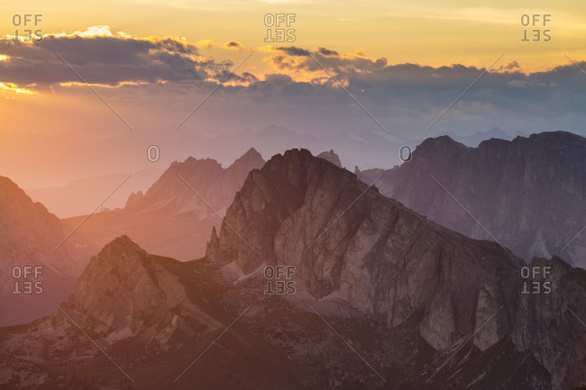 Europe, Italy, Alps, Dolomites, Mountains, Passo Gardena, View from Rifugio Nuvolau