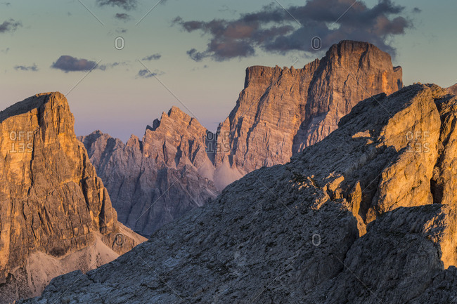 Europe, Italy, Alps, Dolomites, Mountains, Formin, Monte Pelmo, View from Rifugio Nuvolau