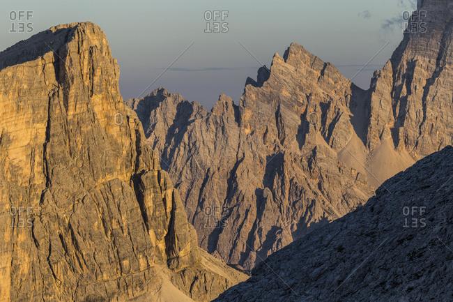 Europe, Italy, Alps, Dolomites, Mountains, Formin, Monte Pelmo, View from Rifugio Nuvolau