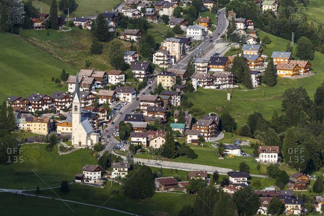Europe, Italy, Alps, Dolomites, Veneto, Belluno, Selva di Cadore, view from Colle Santa Lucia
