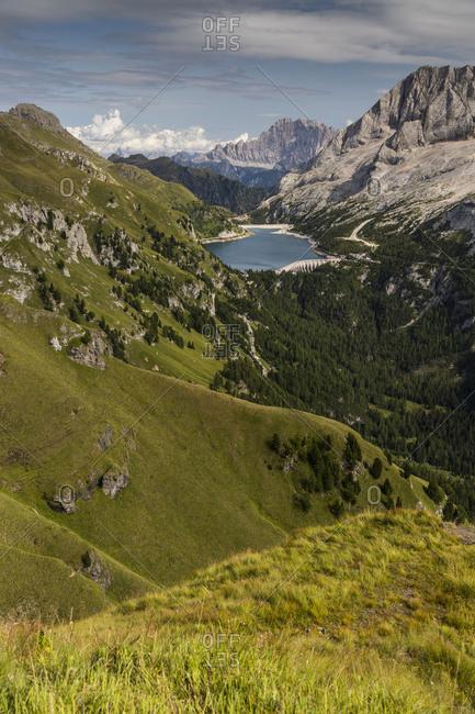 Europe, Italy, Alps, Dolomites, Mountains, Marmolada Fedaia Lake