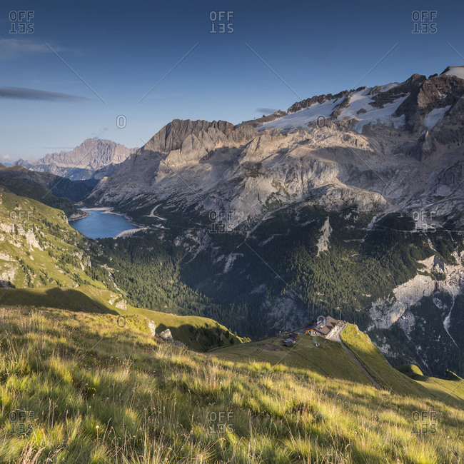 Europe, Italy, Alps, Dolomites, Mountains, Marmolada Fedaia Lake, Rifugio Viel dal Pan
