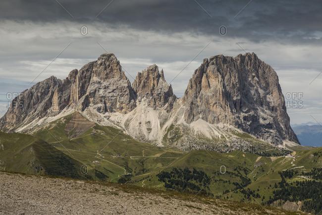 Europe, Italy, Alps, Dolomites, Mountains, Sassolungo, View from Rifugio Sass Bece