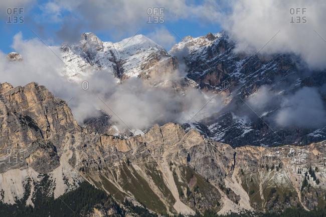 Europe, Italy, Alps, Dolomites, Mountains, Veneto, Belluno, Cortina d'Ampezzo, Cristalloview from Pocol