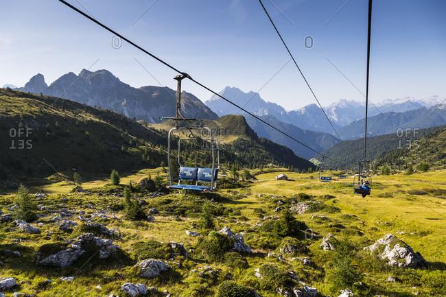 September 15, 2017: Europe, Italy, Alps, Dolomites, Mountains, Fedare-Forcella Nuvolau Chairlift, Rifugio Averau
